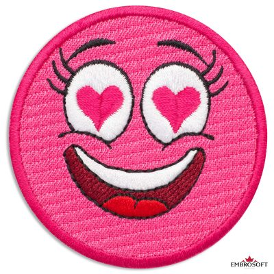 Pink Emoji in Love Embroidered Patch Iron On (2.6″ x 2.6″) Emoji