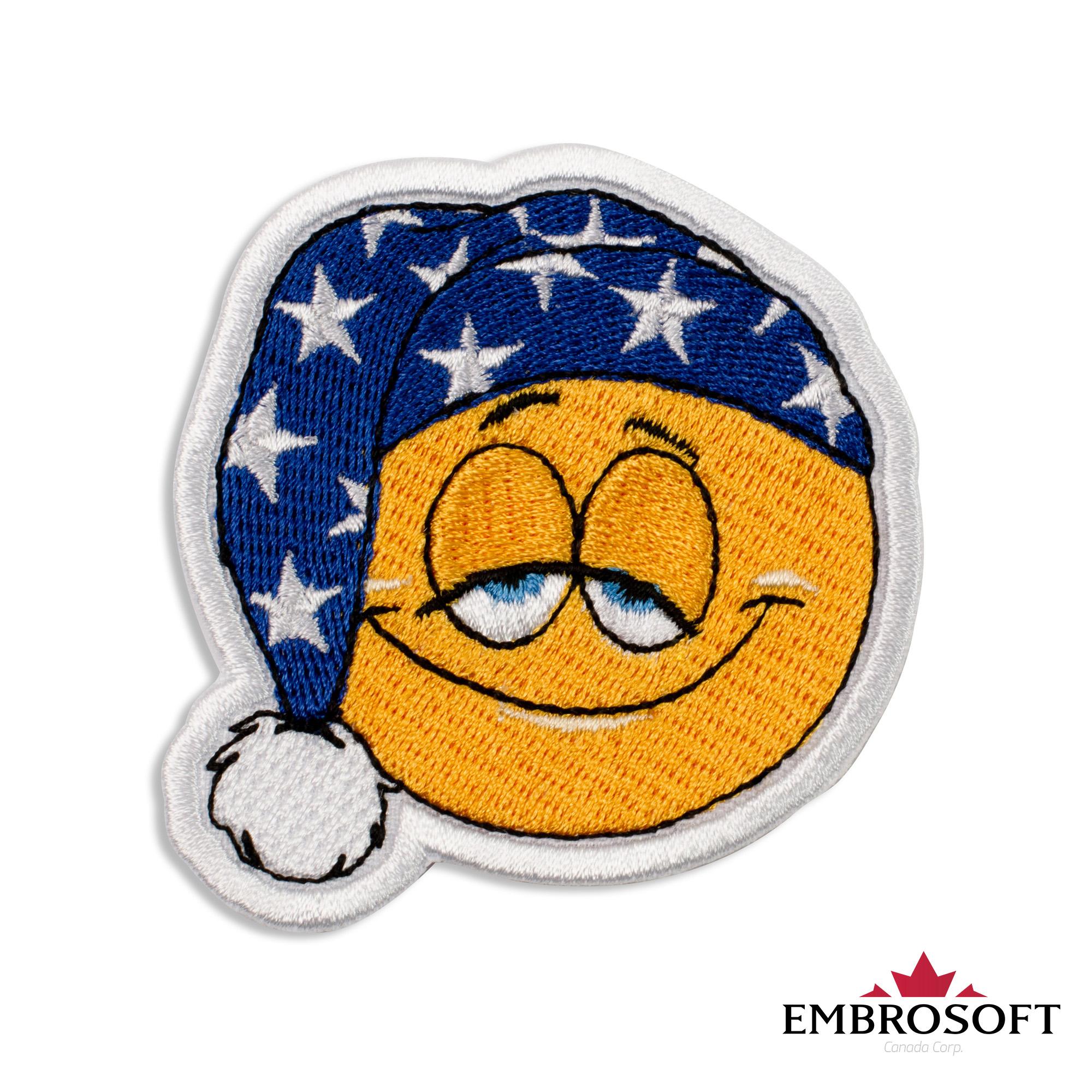 Sleepy Emoji Embroidered Patch Iron On (2 6
