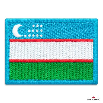 Flag of Uzbekistan Embroidered Patch (2.8″ × 2″) Colored rectangular flags