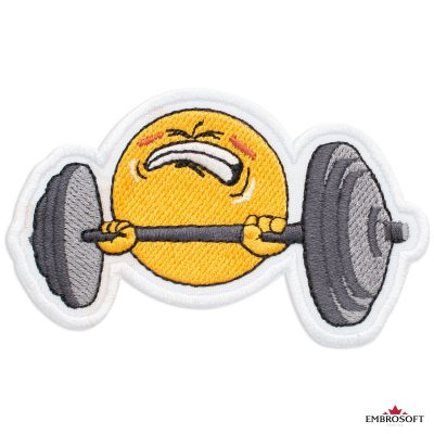 Weightlifter Emoji Embroidered Patch Iron On (3.7″ x 2.4″) Emoji