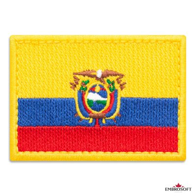 Flag of Ecuador Embroidered Patch (2.8″ × 2″) Flags of South America