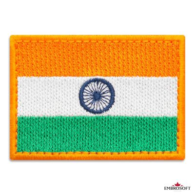 Flag of India Embroidered Patch (2.8″ × 2″) Flags of Asia