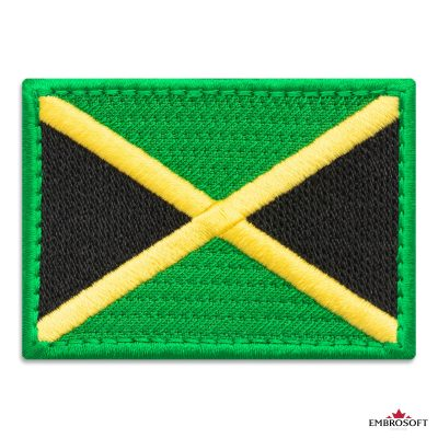 Flag of Jamaica Embroidered Patch (2.8″ × 2″) Flags of South America
