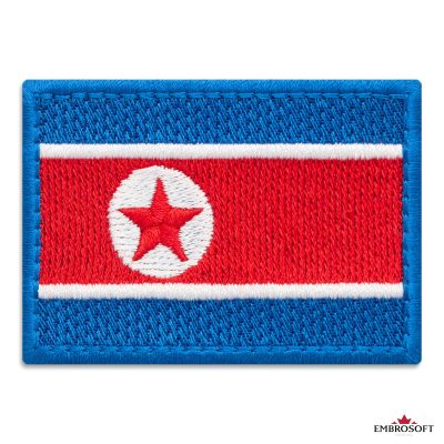 Flag of North Korea Embroidered Patch (2.8″ × 2″) Flags of Asia