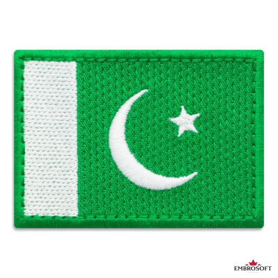 Flag of Pakistan Embroidered Patch (2.8″ × 2″) Flags of Asia
