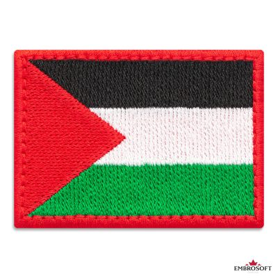 Flag of Palestine Embroidered Patch (2.8″ × 2″) Flags of Asia
