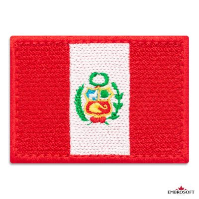 Flag of Peru Embroidered Patch (2.8″ × 2″) Flags of South America