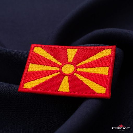 Flag of Republic of Macedonia Embroidered Patch (2.8″ × 2″) Flags of Europe