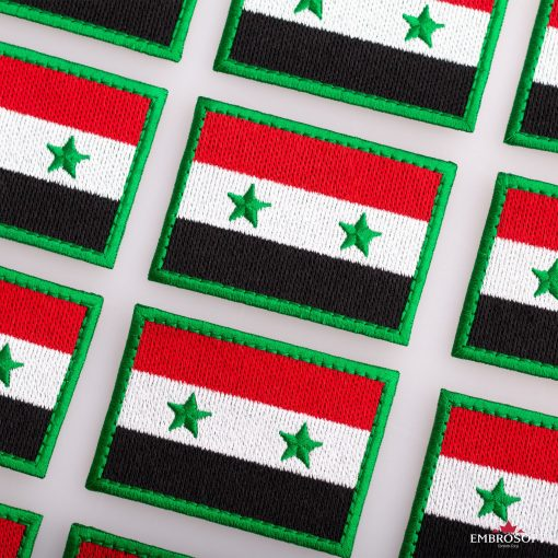 Flag of Syria Embroidered Patch (2.8″ × 2″) Flags of Asia