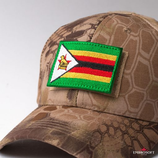 Flag of Zimbabwe Embroidered Patch (2.8″ × 2″) Flags of Africa