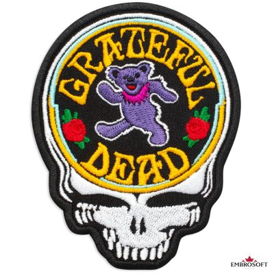 Grateful Dead Skull and Bear Embroidered Patch (3″ x 3.9″) Grateful Dead