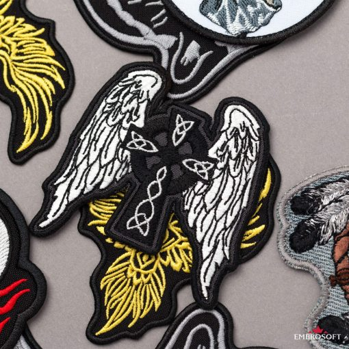 Celtic Cross with Wings patch