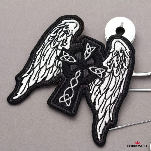 Celtic Cross with Wings for backpack