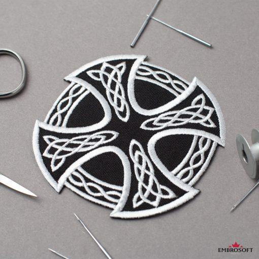 White Cross and Circle with Celtic Pattern
