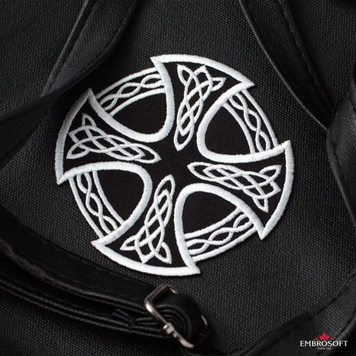 Cross and Circle with Celtic Pattern jacket patch