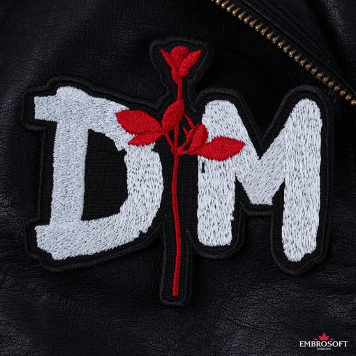 Depeche mode red rose patch leather
