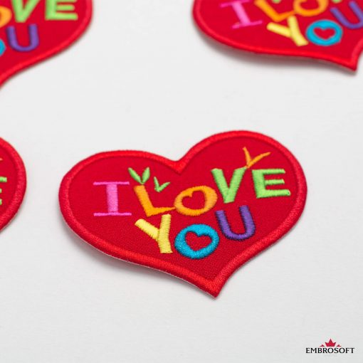 Heart I LOVE YOU embroidered patch