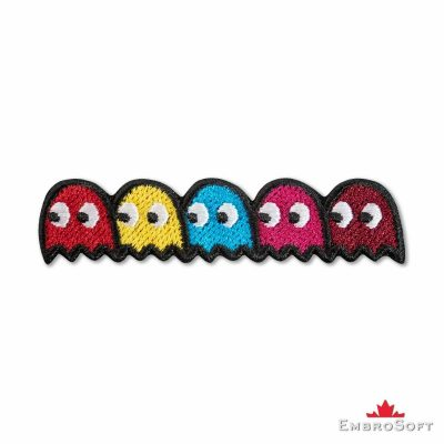 Pacman Ghosts Embroidered Patch, Iron On, Size: 3.3 x 0.8 Inches Arcade