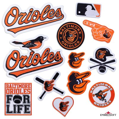 Baltimore Orioles logo patch SET Frontal