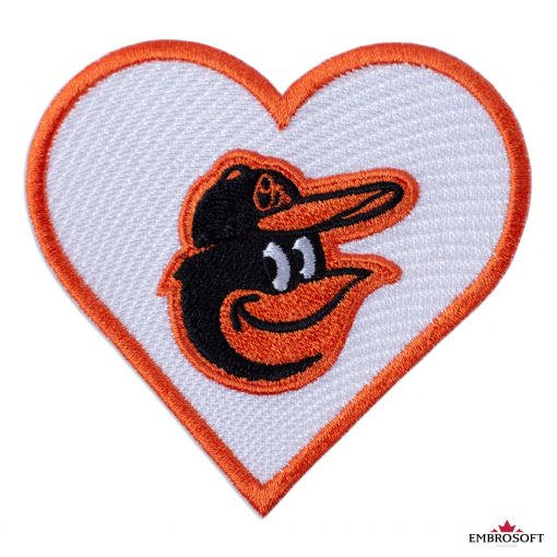 Baltimore Orioles logo patch heart frontal
