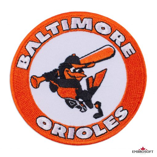 Baltimore Orioles logo patch round with a bird frontal