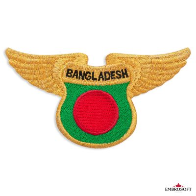 The flag of Bangladesh with golden wings
