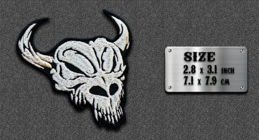 Biker embroidered patch Horned Bull Scull