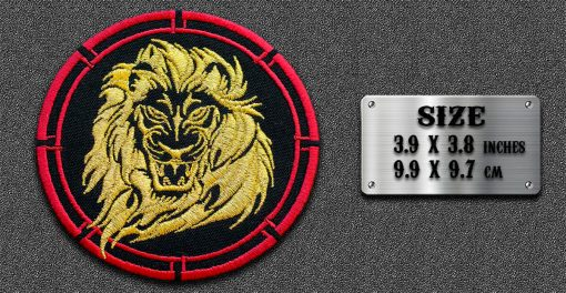 Biker round patch Lone Angry Lion