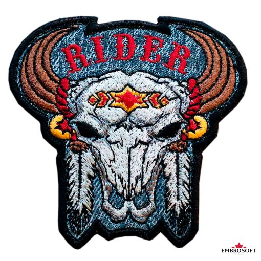 Biker embroidered patch Scull Buffalo