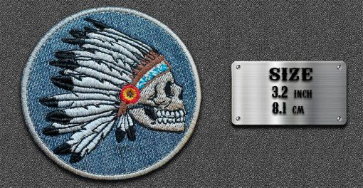 Biker round patches Indian Skull with Feather