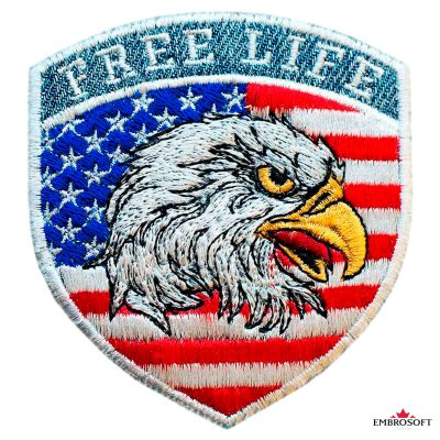 Biker Embroidered Patch American Bald Eagle