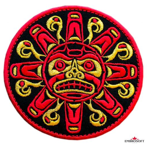 Biker Embroidered Patch Red Sun