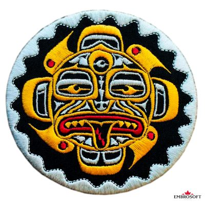 Biker Embroidered Patch Yellow Totem