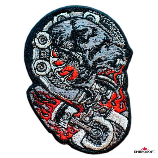 Biker embroidered patch Bear
