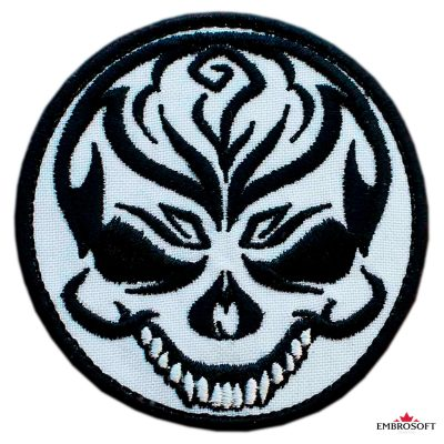 Biker embroidered patch Cheerful Skull