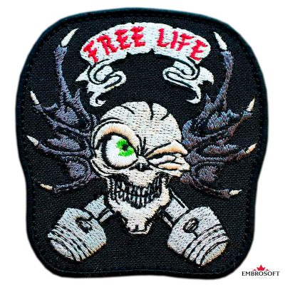 Biker embroidered patch Free Life Skul