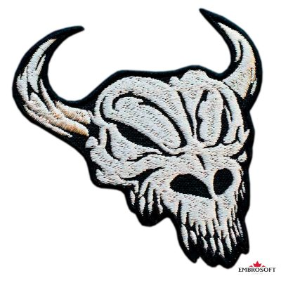 Biker Embroidered patch Horned Cow Skull