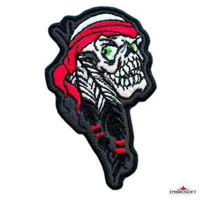 Biker Embroidered patch Indian Skull