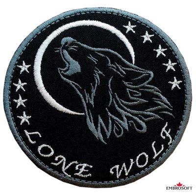 Biker embroidered patch Lone Wolf