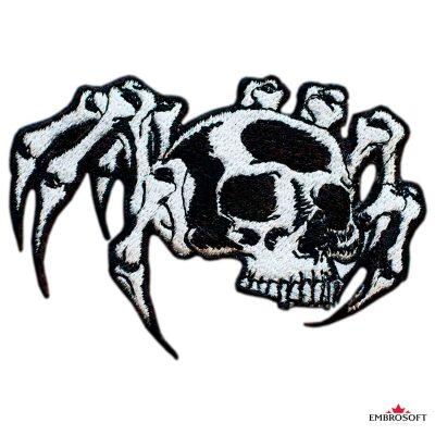 Biker embroidered patch Spider Skull photo