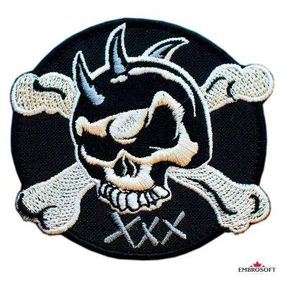 Biker Embroidered patch Skull XXX