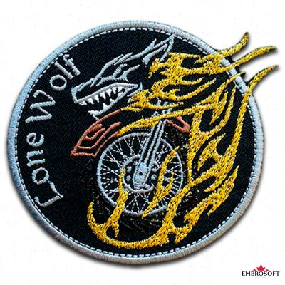 Crazy Lone Wolf Embroidered patch