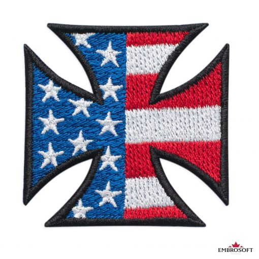 Cross with flag USA patch