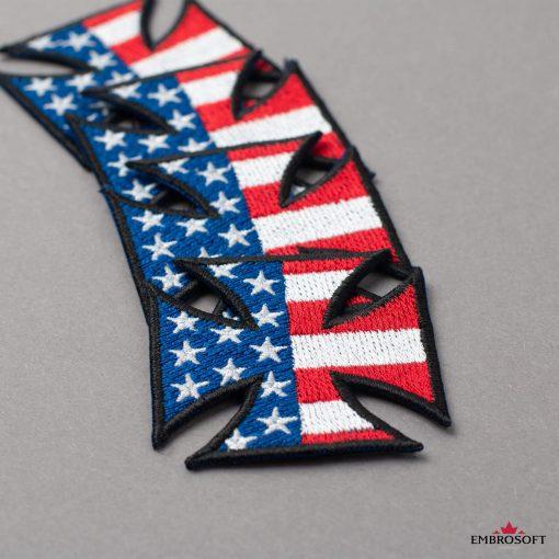 Embroidered Cross with flag USA