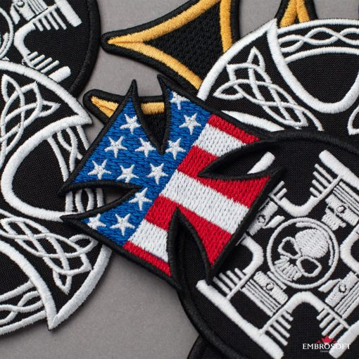 Cross with flag USA for backpack