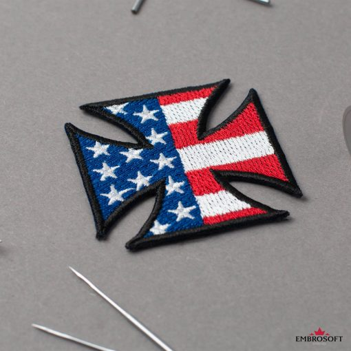 Cross with flag USA small patch