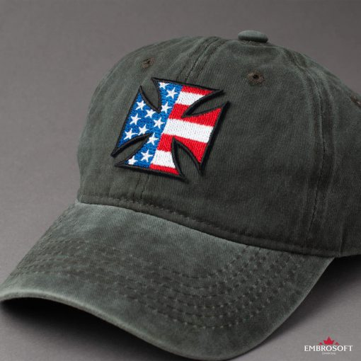 Cross with flag USA for cap