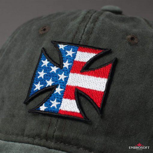 Cross with flag USA Emblem