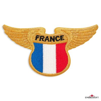 French flag embroidered patch