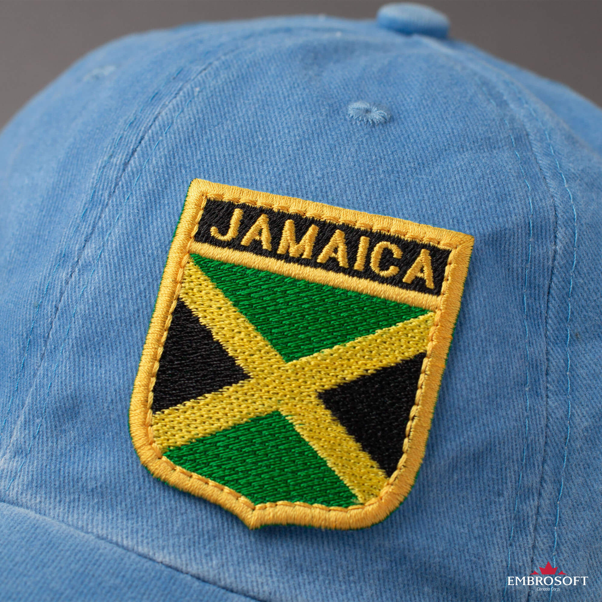 """Embroidered Sew On Patch 3 1//2/"""" X 2 1//2/"""" Jamaican Flag"""